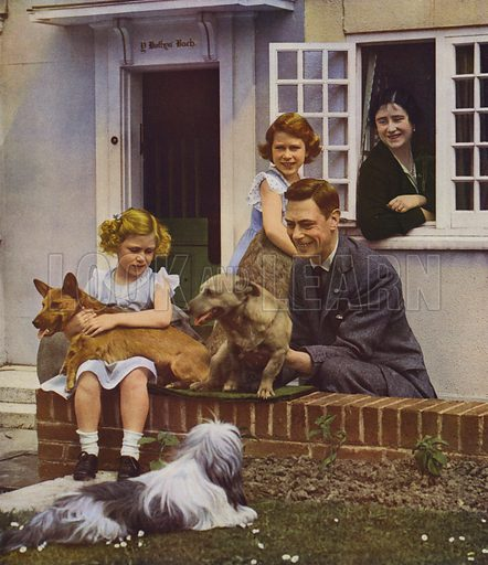 King George VI and Queen with their daughters, Elizabeth and Margaret Rose, and some of the Princesses' pets. Illustration for The Coronation Souvenir Book 1937 (Daily Express, 1937).