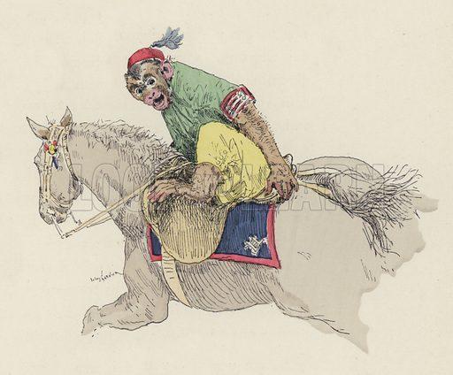 Monkey riding a horse.  Illustration for Les Jeux Du Cirque et La Vie Foraine by Hugues Le Roux (Plon, 1889).