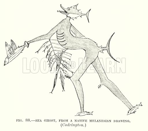 Sea ghost, from a native Melanesian Drawing, Codrington.  Illustration for The Story of Primitive Man by Edward Clodd (2nd edn, Newnes, 1895).