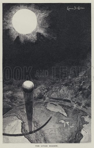 The lunar shadow, 1 January 1889.  Illustration for The Century Illustrated Monthly Magazine, Vol XXXVIII (May 1889 - October 1889).