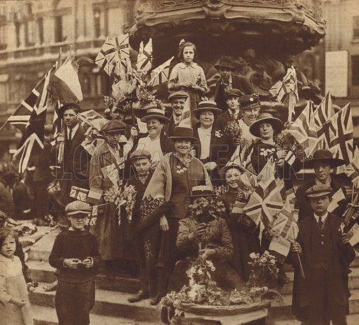 Celebrating victory in the First World War in Piccadilly Circus, London, 1919