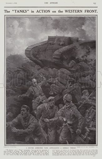 British tanks in action on the Western Front, World War I, 1916. Illustration for The Sphere, 2 December 1916.
