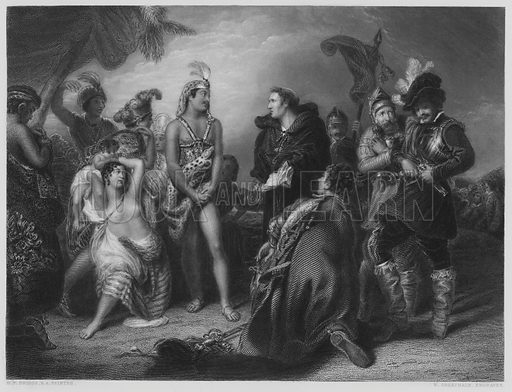Spaniards and Peruvians, from the picture in the Vernon Gallery. Illustration for The Art Journal, 1851.