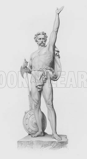 Caractacus, engraved by W Roffe from the statue by J H Foley