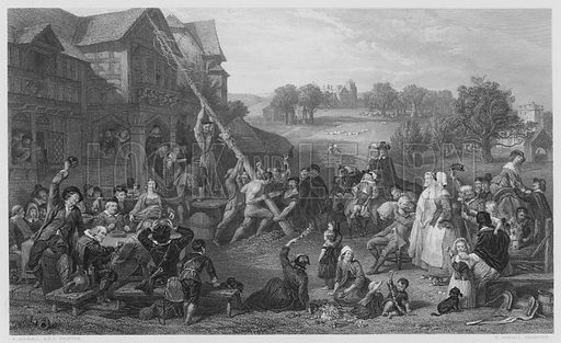 Raising the May-Pole. Illustration for The Art Journal, 1854.