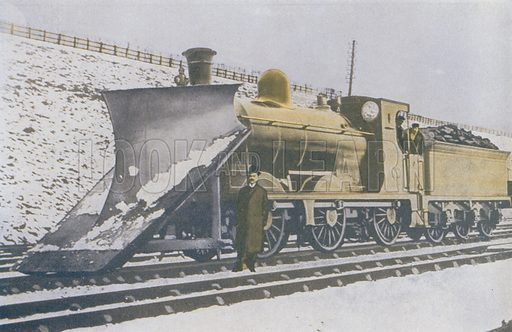 Winter on the railway, a snow plough (CR). Illustration for Railways Shown to the Children by George S Dickson (Jack, c 1920).