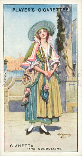 Gianetta, The Gondoliers. Illustration for one of a series of cigarette cards on the subject of Gilbert and Sullivan published by John Player, early 20th century.