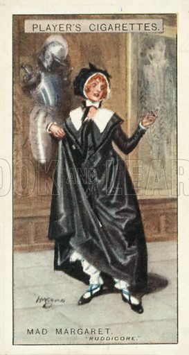 Mad Margaret, Ruddigore. Illustration for one of a series of cigarette cards on the subject of Gilbert and Sullivan published by John Player, early 20th century.