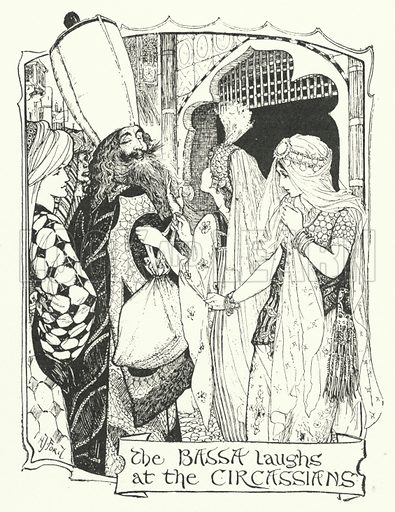 The Bassa Laughs at the Circassians. Story of the Three Sons of Hali. Illustration for The Grey Fairy Book edited by Andrew Lang (Longmans, Green, 1900).