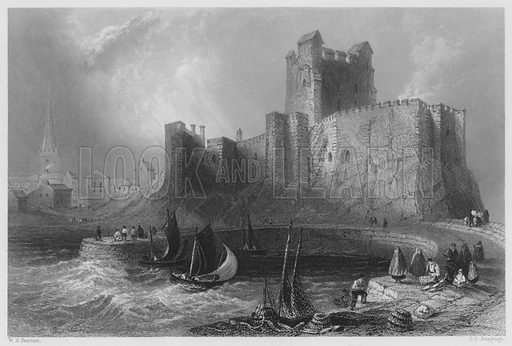 Carrickfergus Castle. Illustration for The Scenery and Antiquities of Ireland (George Virtue, 1842).