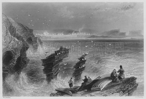Kilkee, County Clare. Illustration for The Scenery and Antiquities of Ireland (George Virtue, 1842).