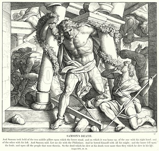 Samson's Death. Illustration for The Bible in Pictures or Scripture History illustrated in a series of one hundred and eighty engravings, from original designs by Julius Schnorr von Carolsfeld (Blackie, c 1880).