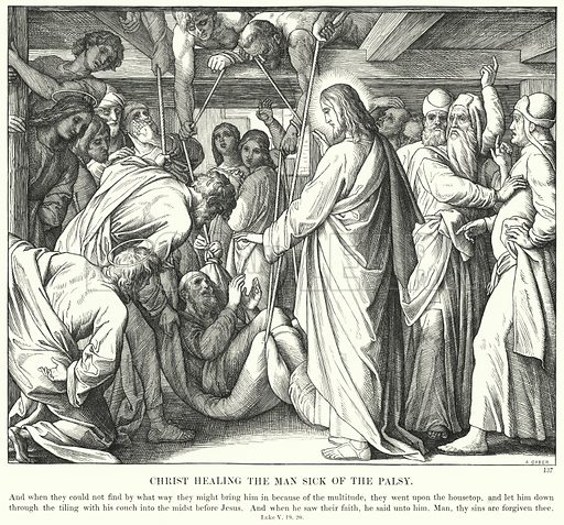 Christ Healing the Man Sick of the Palsy. Illustration for The Bible in Pictures or Scripture History illustrated in a series of one hundred and eighty engravings, from original designs by Julius Schnorr von Carolsfeld (Blackie, c 1880).