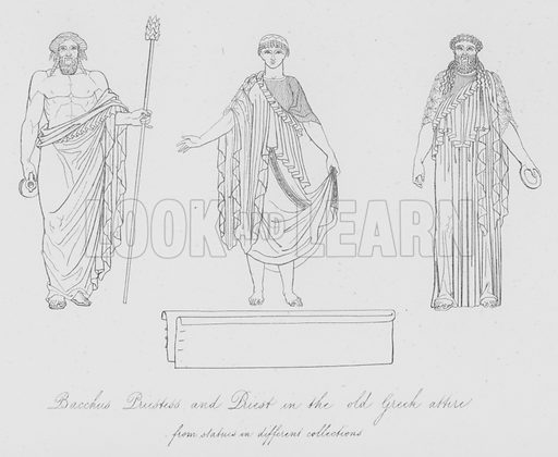 Bacchus Priestess and Priest in the old Greek attire, from statues in different collections. Illustration for Costume of the Ancients by Thomas Hope (Henry G Bohn, 1841).