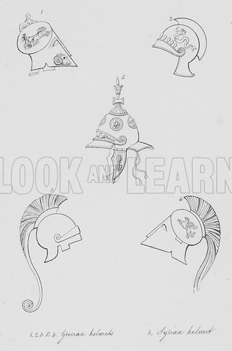 Grecian helmets, Syrian helmet. Illustration for Costume of the Ancients by Thomas Hope (Henry G Bohn, 1841).