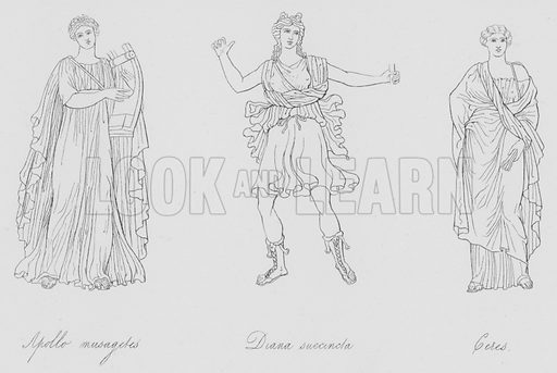 Apollo musagetes, Diana succincla, Ceres. Illustration for Costume of the Ancients by Thomas Hope (Henry G Bohn, 1841).