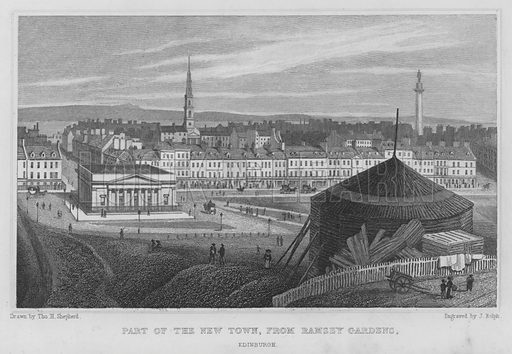 Part of the New Town, from Ramsey Gardens, Edinburgh. Illustration for Modern Athens, Displayed in a Series of Views of Edinburgh in the Nineteenth Century (Jones, 1829).