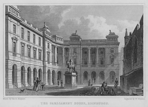 The Parliament House, Edinburgh. Illustration for Modern Athens, Displayed in a Series of Views of Edinburgh in the Nineteenth Century (Jones, 1829).