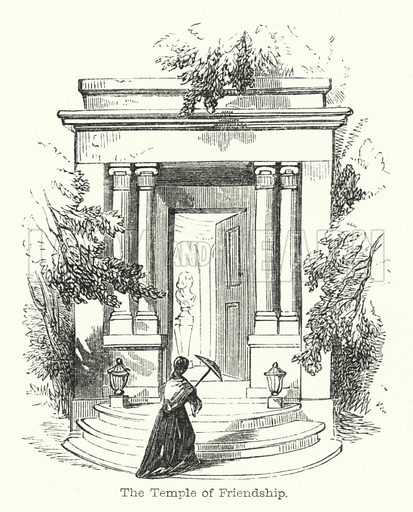 The Temple of Friendship. Illustration for Pilgrimages to English Shrines by Mrs SC Hall (new edn, Arthur Hall, Virtue, 1853).