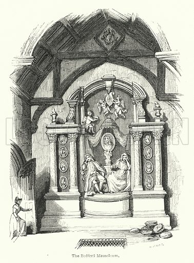 The Bedford Mausoleum. Illustration for Pilgrimages to English Shrines by Mrs S C Hall (new edn, Arthur Hall, Virtue, 1853).