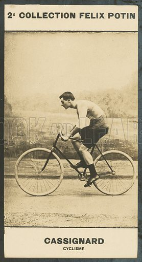 Georges Cassignard, Cyclisme, 1873-1893. Illustration for 510 Celebrites Contemporaines, 2me Collection, Felix Potin.  Only suitable for repro at small size.