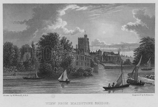 View from Maidstone Bridge. Illustration for Great Britain Illustrated with descriptions by Thomas Moule (Charles Tilt, 1830).