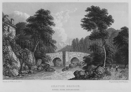 Shaugh Bridge, River Plym, Devonshire. Illustration for Great Britain Illustrated with descriptions by Thomas Moule (Charles Tilt, 1830).