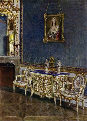 The Margravine's Room in the Hermitage, near Bayreuth, Re-decorated 1740. Illustration for Historic Interiors in Colour with an introduction by Adolf Feulner (Batsford, 1929).