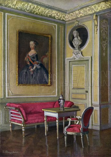 The Margravine's Bedroom in Castle Ansbach, Constructed 1733-35, Furniture of the early Louis XVI period. Illustration for Historic Interiors in Colour with an introduction by Adolf Feulner (Batsford, 1929).