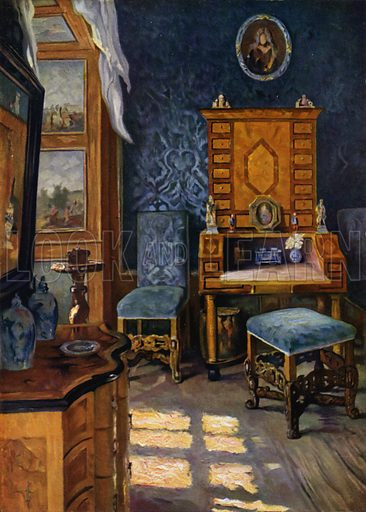 Blue Salon in Castle Weikersheim, Wurttemberg, Baroque decoration, about 1680-1700. Illustration for Historic Interiors in Colour with an introduction by Adolf Feulner (Batsford, 1929).