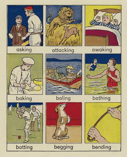 Page from Look and Learn Words of Action Shown in Pictures by Jessie Rathbone (c 1940).