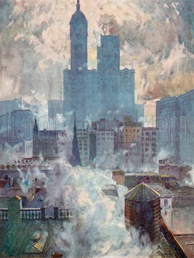 Lower End of the City, View over Roofs. Illustration for New York by Hildegarde Hawthorne (A&C Black, 1911).