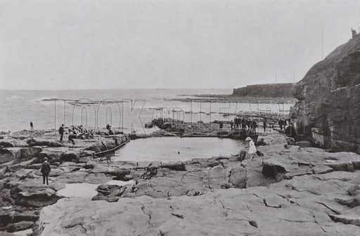The Bathing Pool, Table Rocks. Illustration for a booklet of Fine Art Photographic Views of Newcastle and area, c 1895.