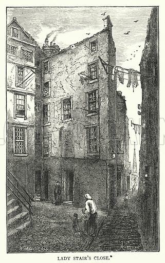 Lady Stair's Close. Illustration for Cassell's Old and New Edinburgh (c 1885).