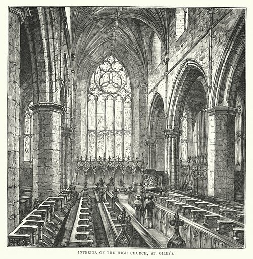Interior of the High Church, St Giles's. Illustration for Cassell's Old and New Edinburgh (c 1885).