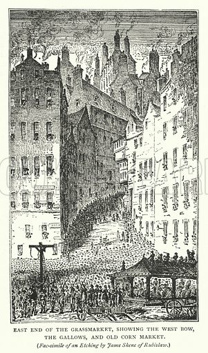 East End of the Grassmarket, showing the West Bow, the Gallows, and Old Corn Market. Illustration for Cassell's Old and New Edinburgh (c 1885).