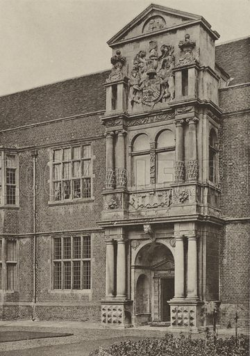 The North Wing, Cobham Hall, Kent. Illustration for Old English Doorways by H Tanner (Batsford, 1903). Photographs by W Galsworthy Davie. Gravure printed.