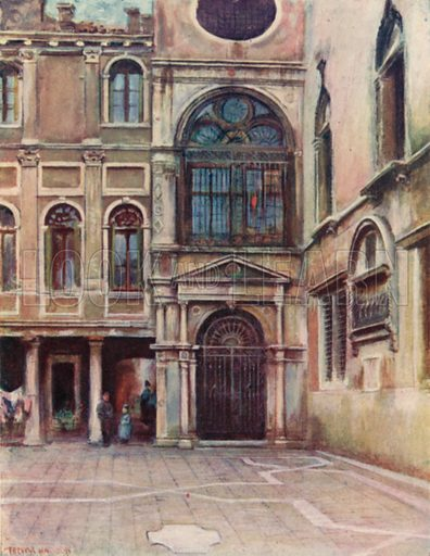 Cortile at Scuola Di S Giovanni Evangelista. Illustration for The Old Venetian Palaces and Old Venetian Folk by Thomas Okey (JM Dent, 1907).