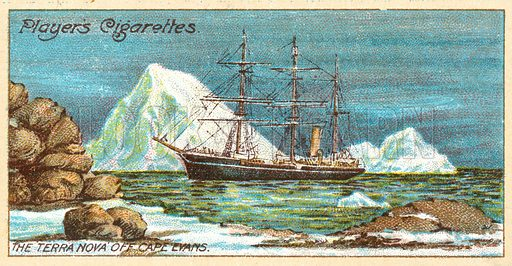 The 'Terra Nova' off Cape Evans. Illustration for one of a series of cigarette cards on the theme on Polar Exploration, published by Player's Cigarettes in 1916.  Note: May require slight retouching.