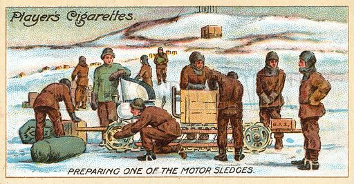 Preparing One of the Motor Sledges. Illustration for one of a series of cigarette cards on the theme on Polar Exploration, published by Player's Cigarettes in 1916.  Note: May require slight retouching.