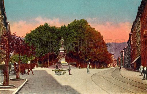 Trieste, Giardino Pubblico e monumento a Domenico Rossetti. One of a set of coloured photographs of Trieste, early 20th century.