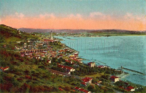 Trieste, Barcola e Faro della Vittoria. One of a set of coloured photographs of Trieste, early 20th century.