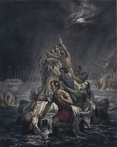The flood. One of the Preceptive Illustrations of The Bible published by Thomas Varty, this copy dated 10 November 1848.  Note:  These illustrations were published over many years, with differing hand-colouring.