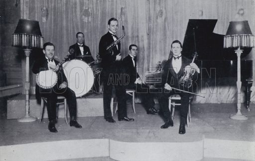The Boston Orchestra, Joe Brannelly, Alec Ure, Howard Jacobs, Carroll Gibbons and Reginald Pursglove. Illustration for Rhythm on Record, a suvery of dance music from 1906 to 1936 (Melody Maker, 1936).