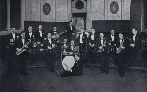Ray Noble and his Orchestra, British. Illustration for Rhythm on Record, a suvery of dance music from 1906 to 1936 (Melody Maker, 1936).