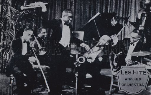 Lawrence Brown, Jimmie Prince, Louis Armstrong, Les Hite and Lionel Hampton. Illustration for Rhythm on Record, a suvery of dance music from 1906 to 1936 (Melody Maker, 1936).