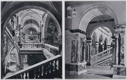 Municipal Buildings, Glasgow, the Staircases. Illustration for Sights and Scenes in Scotland (Cassell, c 1895).