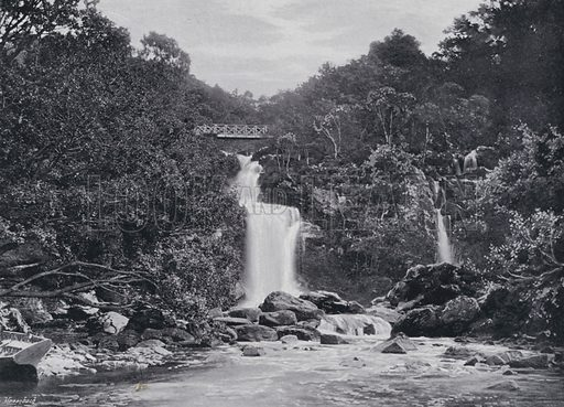 Inversnaid Falls, Loch Lomond. Illustration for Sights and Scenes in Scotland (Cassell, c 1895).
