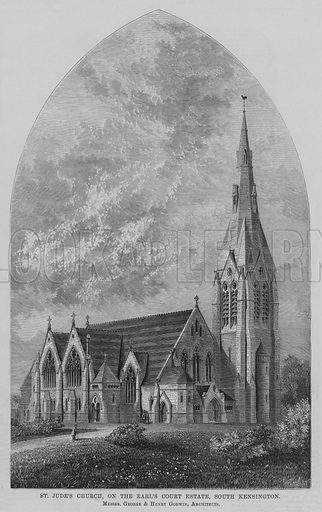 St Jude's Church, on the Earl's Court Estate, South Kensington, Messrs George and Henry Godwin, Architects. Illustration for The Builder, 9 July 1870.