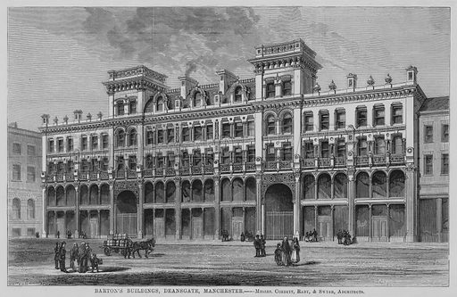 Barton's Buildings, Deansgate, Manchester, Messrs Corbett, Raby, and Swyer, Architects. Illustration for The Builder, 12 August 1871.